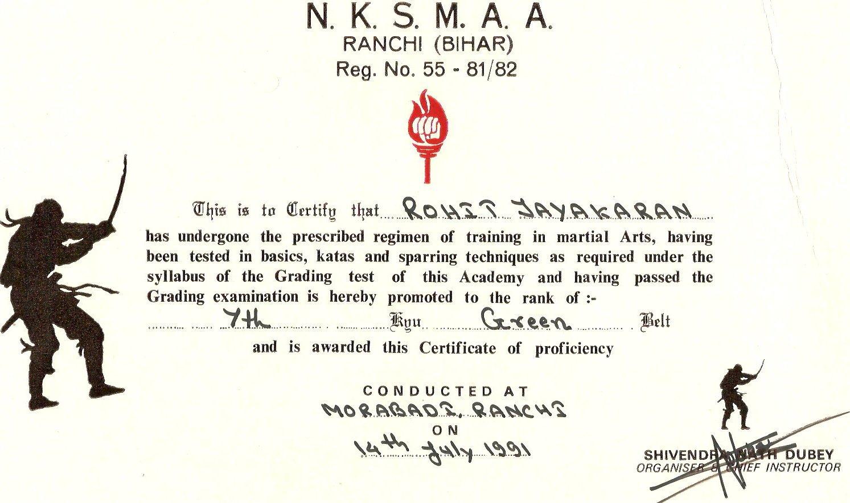 Karate Certificate